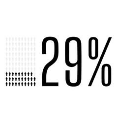 Twenty nine percent people chart graphic 29 vector