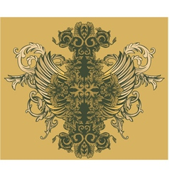 Vintage floral with wings vector