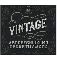 Vintage label font alcohol label style vector