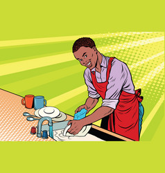 Vintage worker washes dishes vector