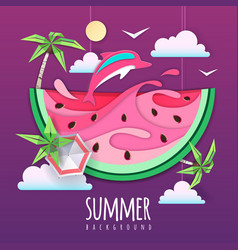 watermelon slice with sea or osean landscape vector image