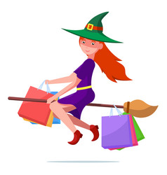 Witch on a flown broom with packages for purchases vector