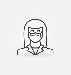 woman doctor or nurse in face mask outline vector image