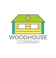 Wood house logo design real estate icon vector