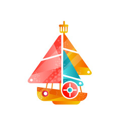 yacht with colored sails flat vector image