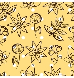 Yellow Seamless Pattern Magic Flowers vector