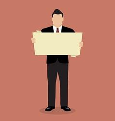 Businessman holding white board presentation vector image vector image