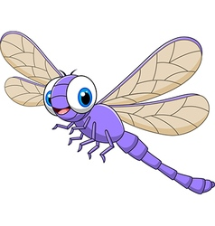 Cartoon funny dragonfly isolated vector image vector image