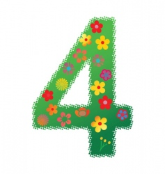 floral number 4 vector image vector image