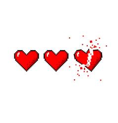 healthbar of hearts and one broken heart vector image vector image