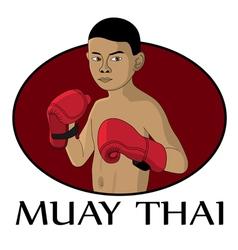 Muay thai kid vector
