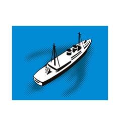 Passenger Cargo Ship Aerial View vector image