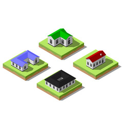 set of simple isometric houses vector image