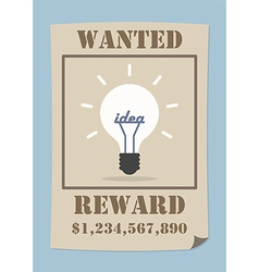 Wanted poster with light bulb idea vector image vector image