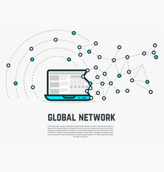 web network laptop vector image vector image