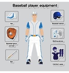 Baseball player uniform and equipment vector image