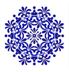 blue floral mandala pattern vector image vector image