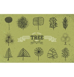 Custom Hand drawn tree icons set vector image vector image