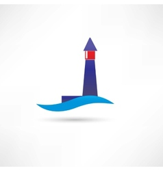 lighthouse and wave icon vector image vector image
