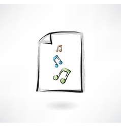 music paper grunge icon vector image