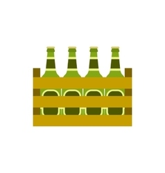 Pack of beer bottles icon flat style vector