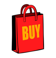 red paper bag icon cartoon vector image vector image