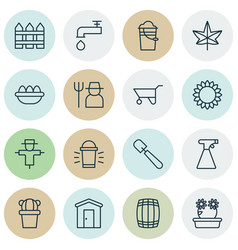 Set of 16 holticulture icons includes bucket vector