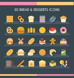bread and pastry set vector image vector image