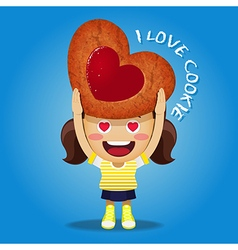 happy woman carrying big strawberry jam cookie vector image vector image