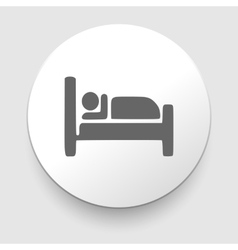 Man sleeping in bed at Motel - icon vector image