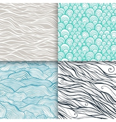 Neutral hand drawn doodle seamless patterns set vector image