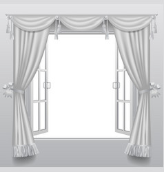 open white double window with classic blinds and vector image vector image