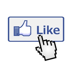Pixelated hand clicking on like button vector image