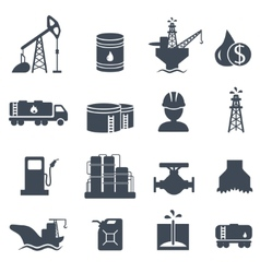 Set of oil and gas grey icons petroleum industry vector