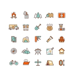 Camping and hiking flat icons for vector image vector image