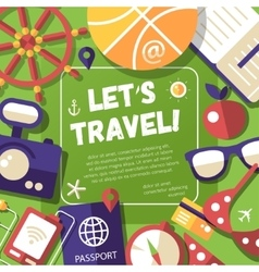 Flyer with modern flat design travel vacation vector image