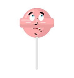 lollipop surprised emoji candy on stick vector image vector image