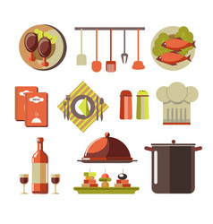 restaurant kitchen elements colorful set isolated vector image