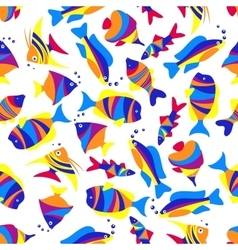 Seamless colorful exotic fishes pattern vector image