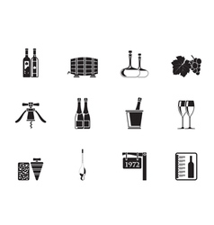 Silhouette Wine and drink Icons vector image vector image