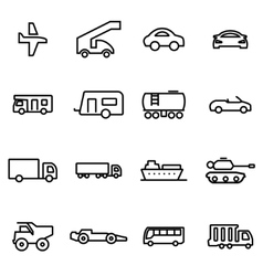 thin line icons - vehicles vector image vector image