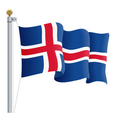 waving iceland flag isolated on a white background vector image