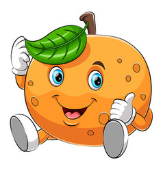 A cartoon happy orange character vector