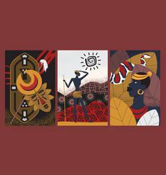 African tribe pattern wallpaper set aborigine vector