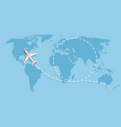 Airplane flying above world map aircraft vector