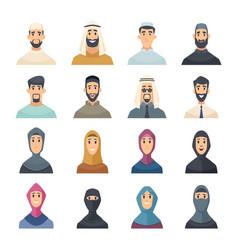 arabic faces avatars muslim characters portraits vector image