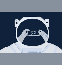 Astronaut taking selfie on space background vector