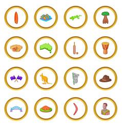 Australia travel icons circle vector