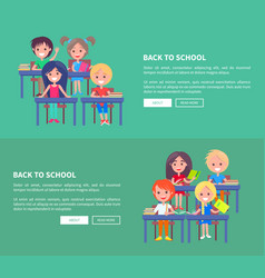 back to school template poster with small pupils vector image