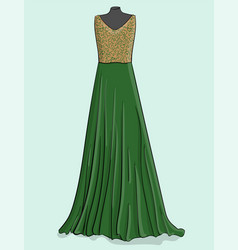 beige and green long dress with green lace on the vector image